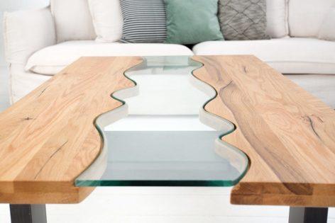 купить стол река со стеклом