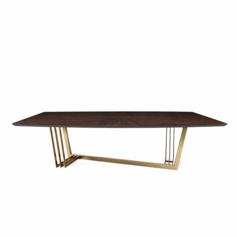обеденный стол со стальным подстольем