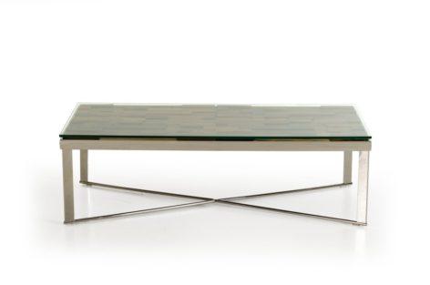 стол кофейный из дерева и металла