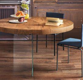 деревянный стол со стеклом на кухню