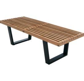 кофейный стол из дерева и металла