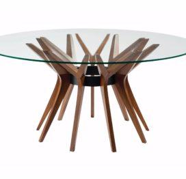 круглый обеденный стол со стеклом