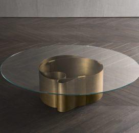 круглый стеклянный кофейный стол