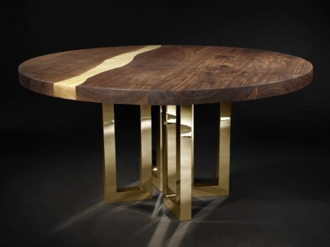 круглый стол река из дерева