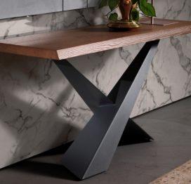 современный консольный стол из дерева и металла