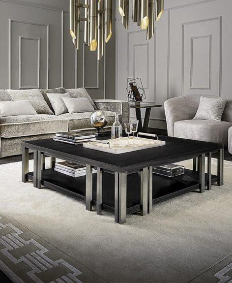 столик кофейный из дерева и металла