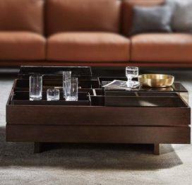 темный кофейный столик для гостиной