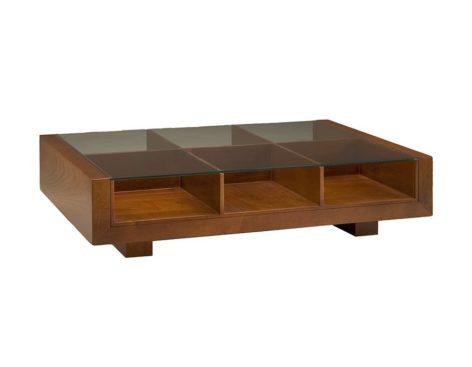 темный кофейный столик с полками