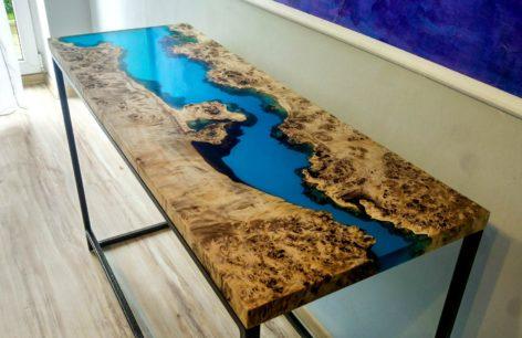 консольный столик из слэба тополя