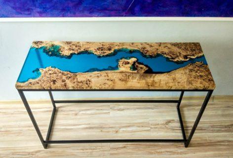 красивый консольный стол из эпоксидной смолы
